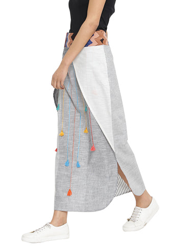 Skirt - Stripes and Tassels Long Tulip Skirt - Prathaa