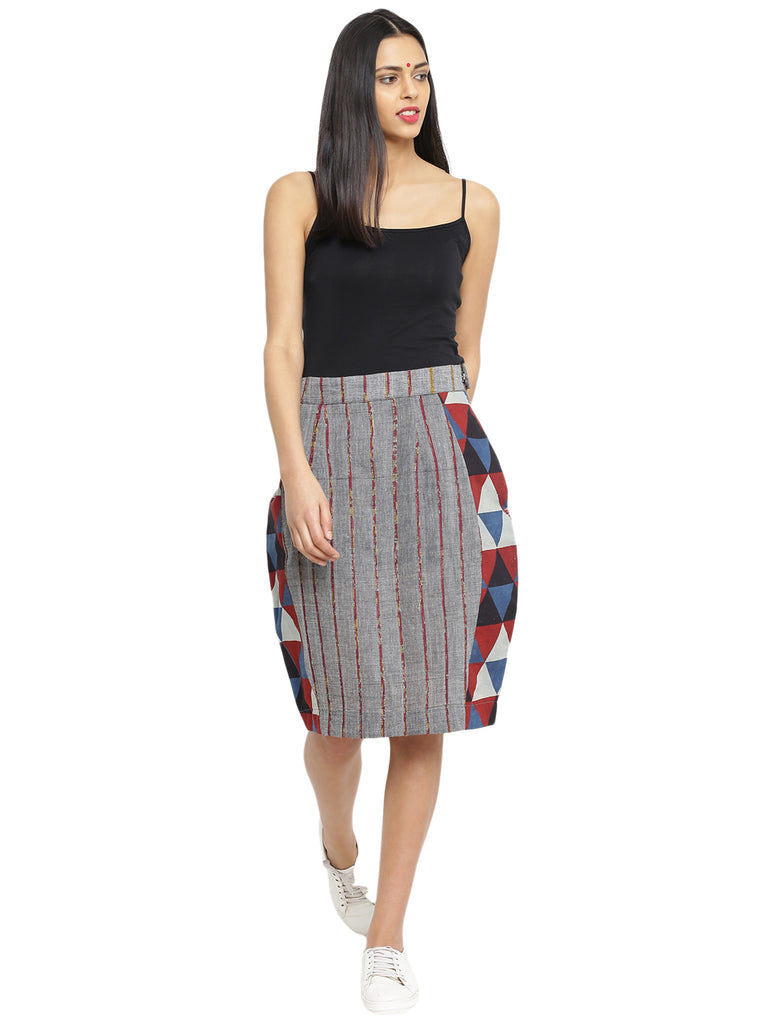 Bottom - Grey Printed Khesh Pencil Skirt - Prathaa