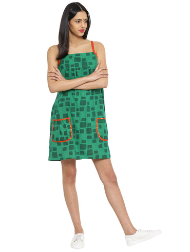 Dress - Printed Green Handloom Cotton Short Dress - Prathaa