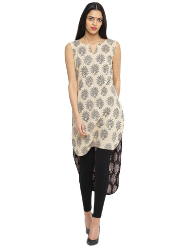 Tunic - Black and White High Low Handloom Cotton Tunic - Prathaa