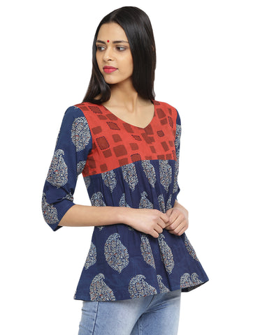 Top - Printed Blue And Red Handloom Cotton Flare Top - Prathaa