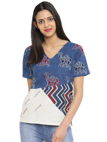 Top - Three Patch Hand Block Printed Top - Prathaa