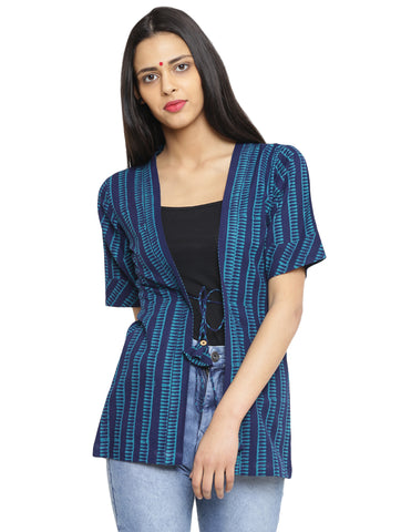 Jacket - Kutch Printed Hand-loom Cotton Jacket - Prathaa