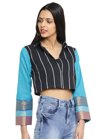 Jacket - Black And Turquoise  Khesh Jacket With Ilkal Sleeves - Prathaa