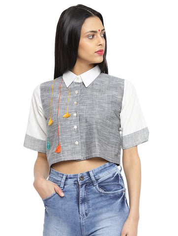 Top - Stripes and Tassels Crop Shirt - Prathaa