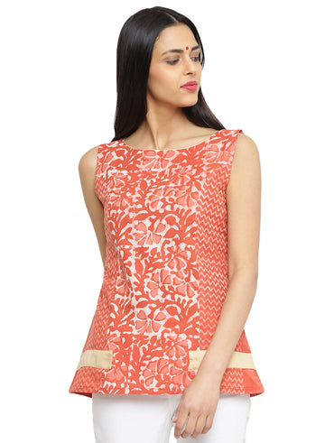 Top - Coral Printed Handloom Cotton Top - Prathaa