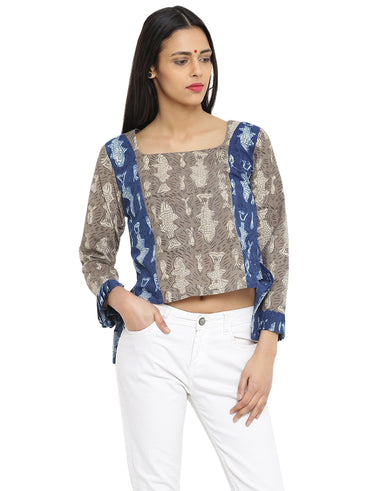 Top - Grey Printed Handloom Cotton Asymmetric Top - Prathaa
