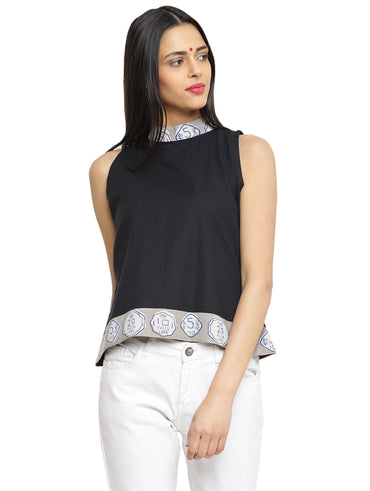 Top - Black Handloom Cotton High Neck Top - Prathaa