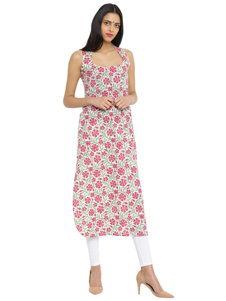 Tunic - Printed Pink Handloom Cotton Tunic - Prathaa