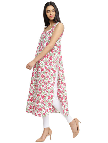 Tunic - Printed Purple Handloom Cotton Tunic - Prathaa