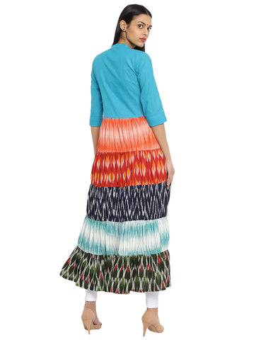 Tunic - Five Tier Long Ikat And Ilkal Tunic - Prathaa