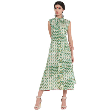 Dress - Leaf blockprint A-line dress with floral panel - Prathaa