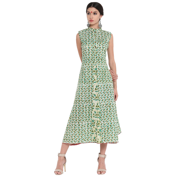 Dress - Leaf blockprint A-line dress with floral panel. - Prathaa