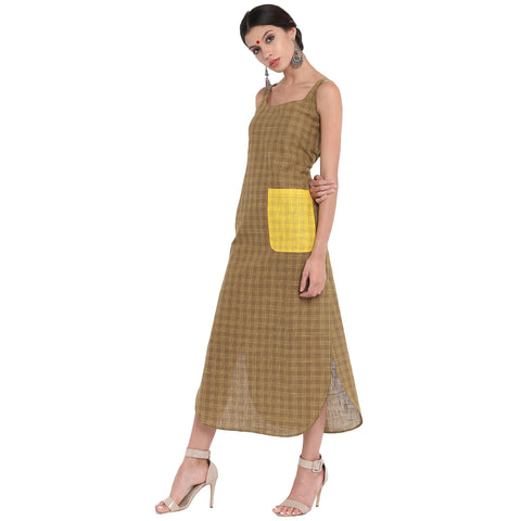 Dress - Checks long dress in apple cut - Prathaa