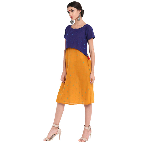Dress - Dual color layered handloom dress - Prathaa