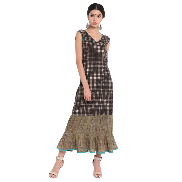 Dress - Checks A-line dress with frills - Prathaa