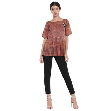 Top - Abstract print mul cotton top. - Prathaa