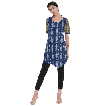 Tunic - Indigo fish blockprint tunic - Prathaa