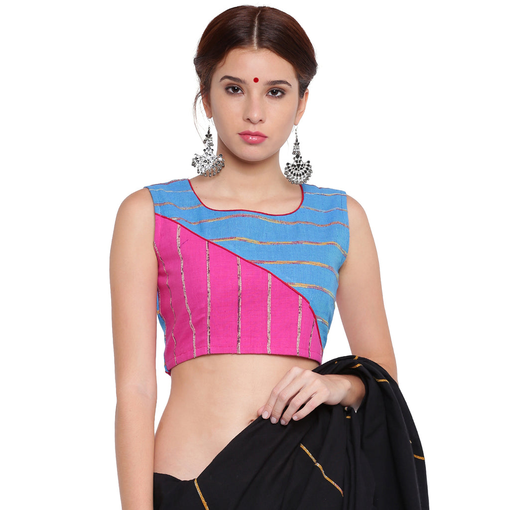 Blouse - Pink and blue khesh contemporary blouse with red piping - Prathaa