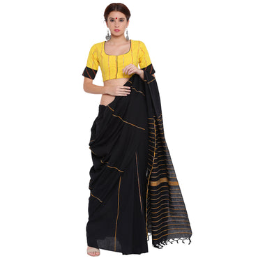 Top - Yellow khesh blouse with black khesh sleeves border - Prathaa