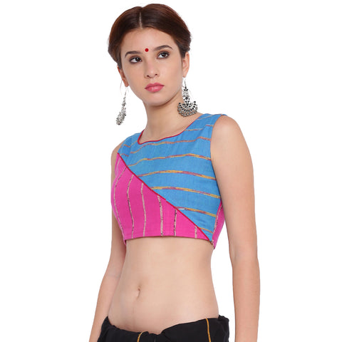 Top - Pink and blue khesh contemporary blouse with red piping - Prathaa