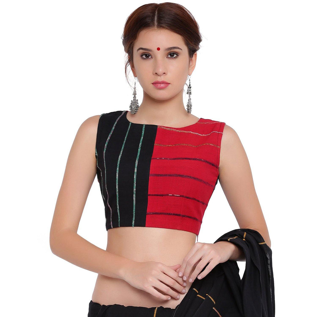 Blouse - Black and red panel sleeveless blouse - Prathaa