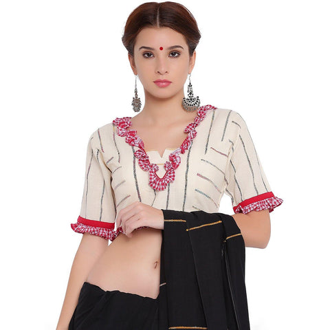 Top - Bengali traditional blouse in white khesh with gamcha frills. - Prathaa