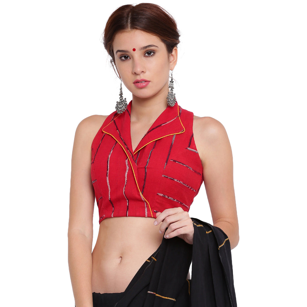 Blouse - Red khesh overlap blouse with jacket collar - Prathaa