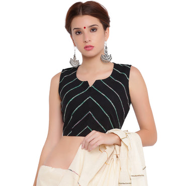 Blouse - Black khesh sleeveless blouse - Prathaa