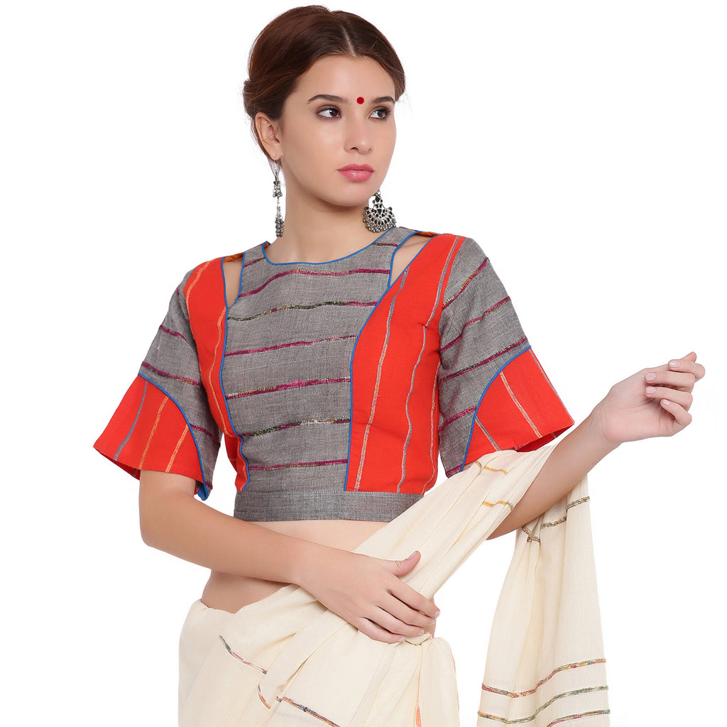 Top - Grey and orange khesh box sleeve blouse - Prathaa