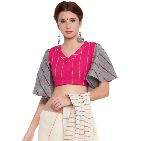 Top - Pink khesh blouse with grey khesh umbrella sleeves - Prathaa