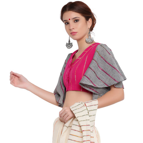 Blouse - Pink khesh blouse with grey khesh umbrella sleeves - Prathaa