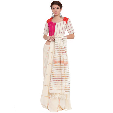 Blouse - Three panel blouse in white, pink and orange khesh - Prathaa