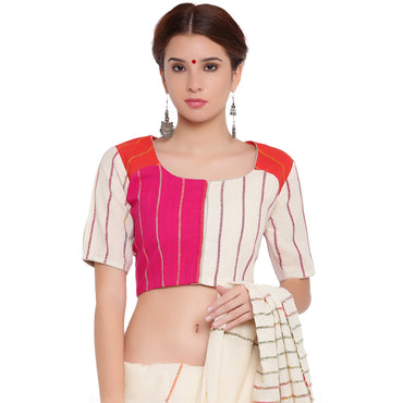 Top - Three panel blouse in white, pink and orange khesh - Prathaa