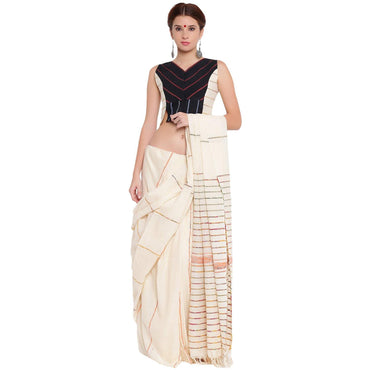 Blouse - Black and white panel sleeveless blouse - Prathaa