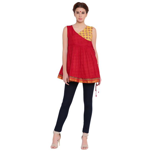 Top - Ilkal and blockprint angrakha top. - Prathaa