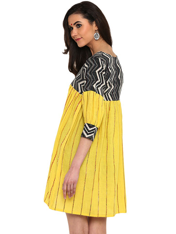 Dress - Yellow Khesh Dress With Kantha Yoke - Prathaa
