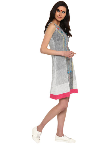 Dress - White And Grey Khadi Princess Cut Dress - Prathaa
