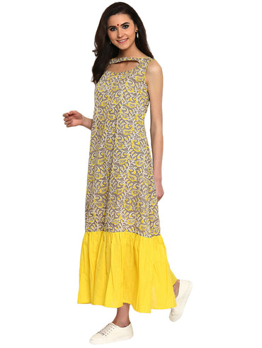 Dress - Grey and Yellow Handloom Cotton Maxi Dress - Prathaa
