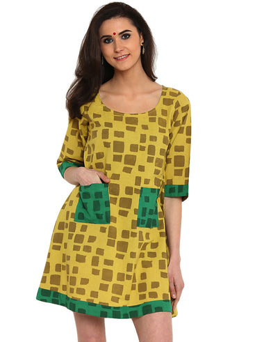 Dress - Printed Olive Green Handloom Cotton Dress - Prathaa