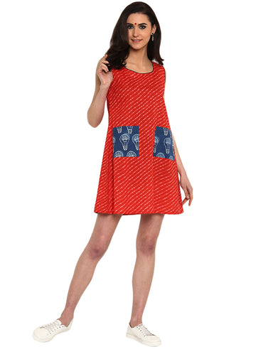 Dress - Printed Red Handloom Cotton Dress - Prathaa