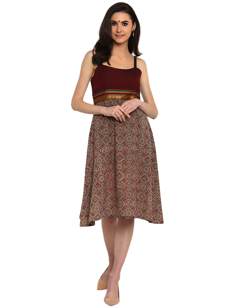Dress - Maroon Printed Ilkal & Hand-loom Cotton Spaghetti Dress - Prathaa