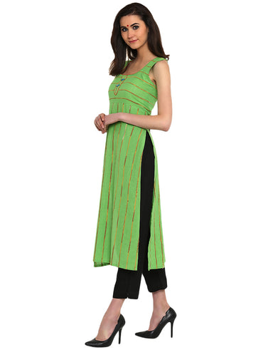 Tunic - Green Khesh Tunic With Racer Back - Prathaa