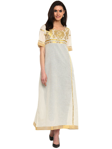 Dress - White Kerala Weave Cotton Maxi Dress - Prathaa