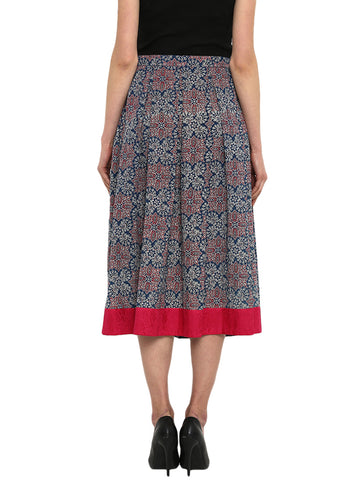Bottom - Indigo Hand-loom Cotton 3/4th Skirt - Prathaa