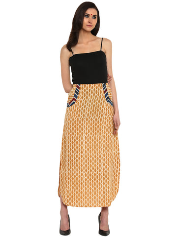 Bottom - Mustard Apple Cut Hand-loom Cotton Skirt - Prathaa