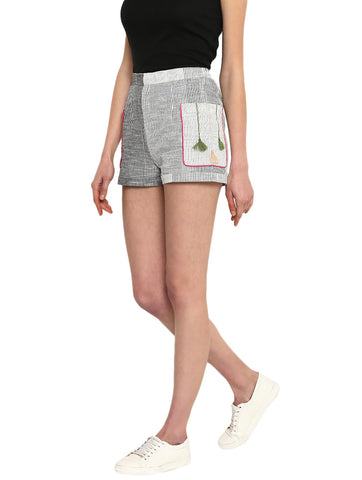 Bottom - Stripes and Tassels Shorts - Prathaa