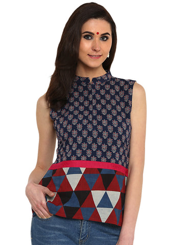 Top - Printed Dark Blue  Handloom Cotton Top - Prathaa