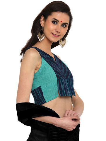 Blouse - Kutch Print Handloom Cotton And Khadi Blouse - Prathaa
