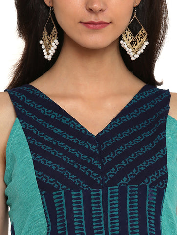 Top - Kutch Print Handloom Cotton And Khadi Blouse - Prathaa